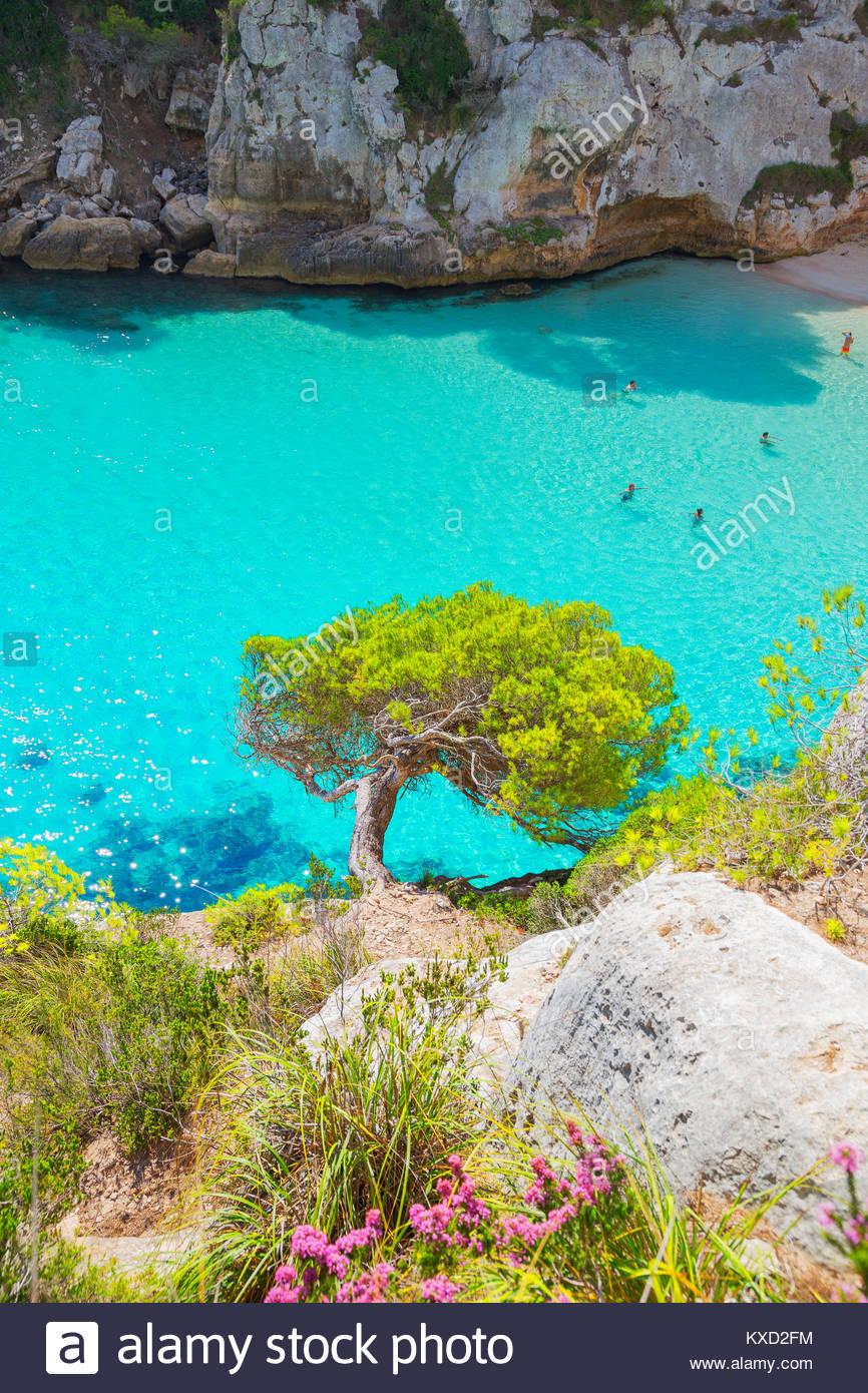 Vew de Cala Macarelleta, Menorca, Islas Baleares, España Imagen De Stock