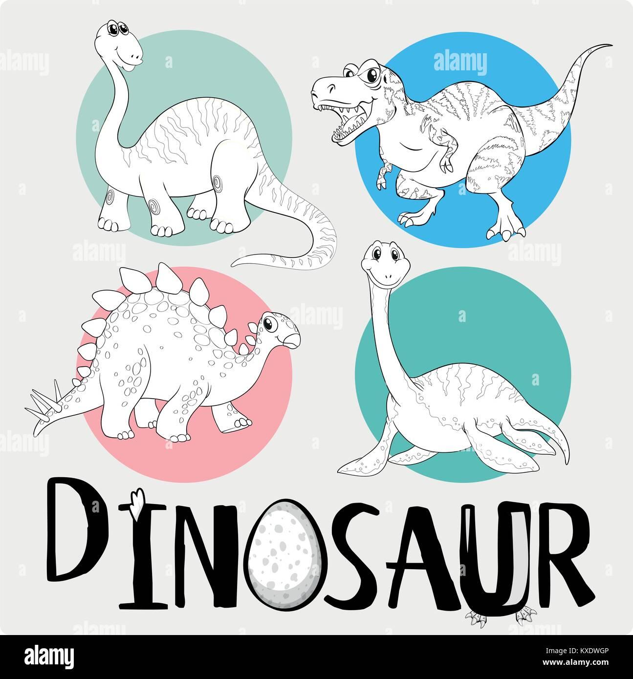 Plantilla Para Colorear Con Cuatro Dinosaurios Ilustración