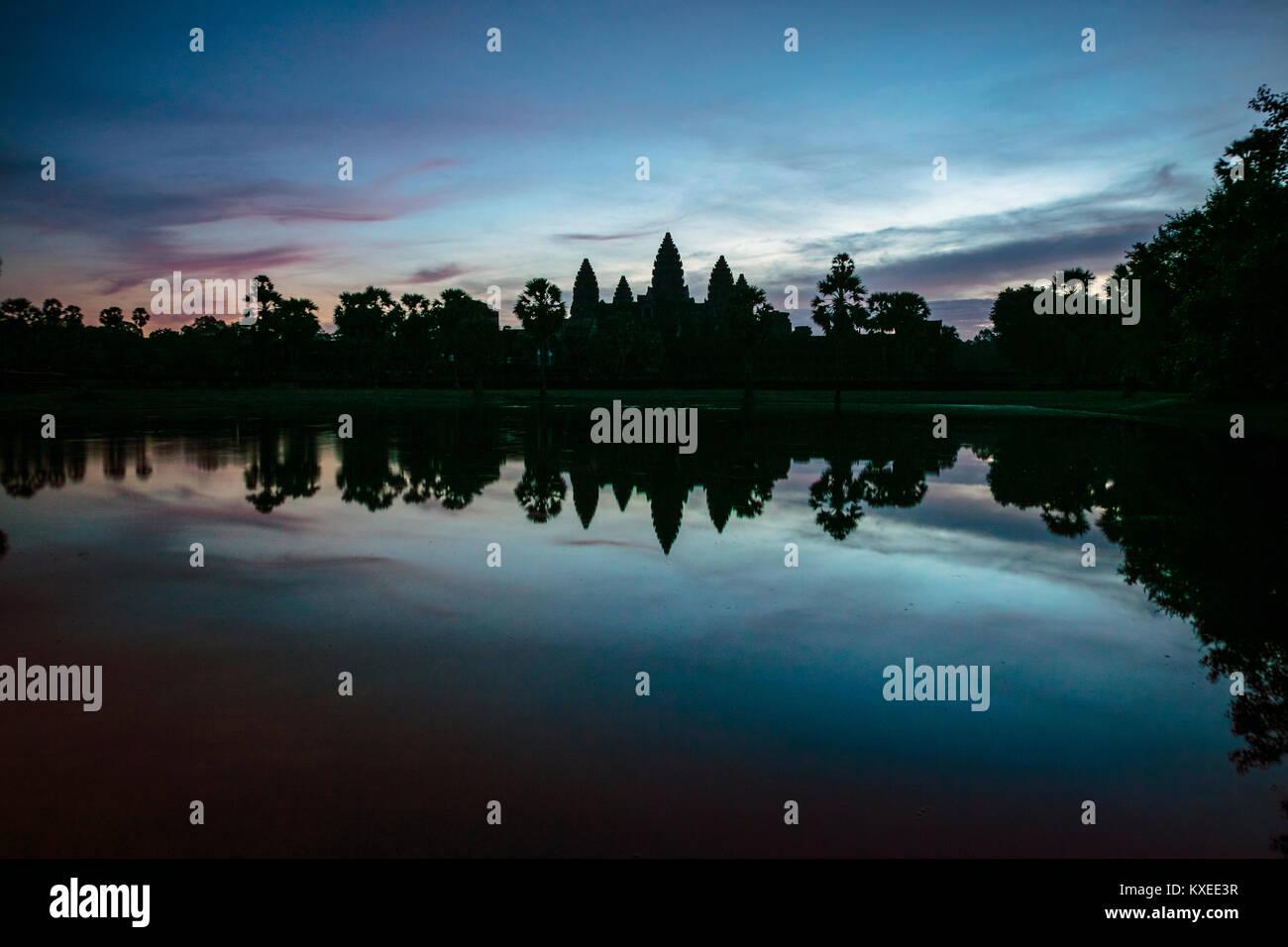 Amanecer, Angor Wat, Camboya. Foto de stock