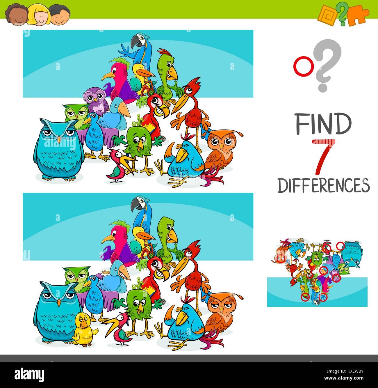 Ilustracion De Dibujos Animados De Encontrar Siete Diferencias Entre