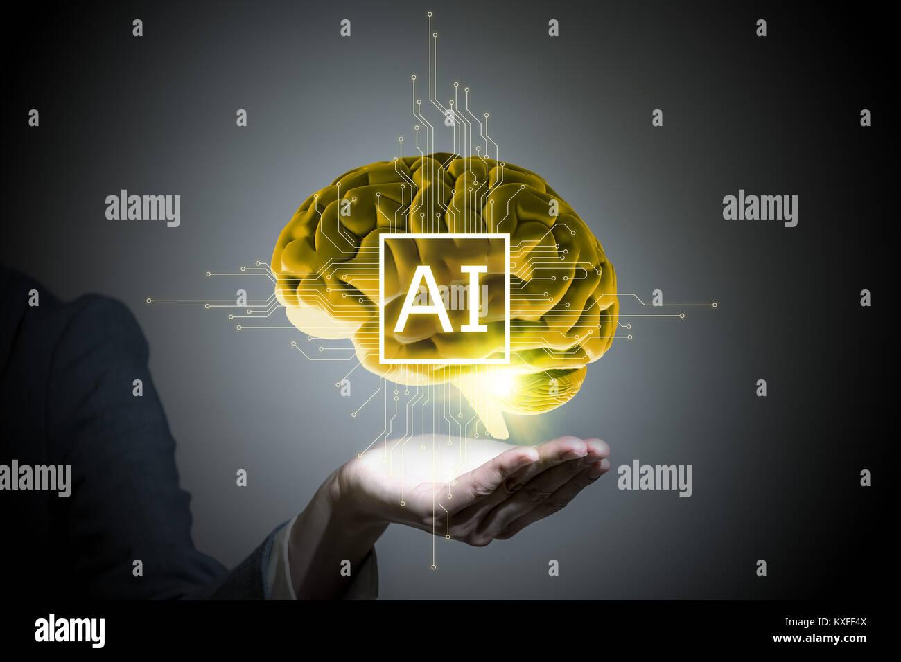 AI (Inteligencia Artificial) Concepto, 3D, imagen abstracta visual Foto de stock