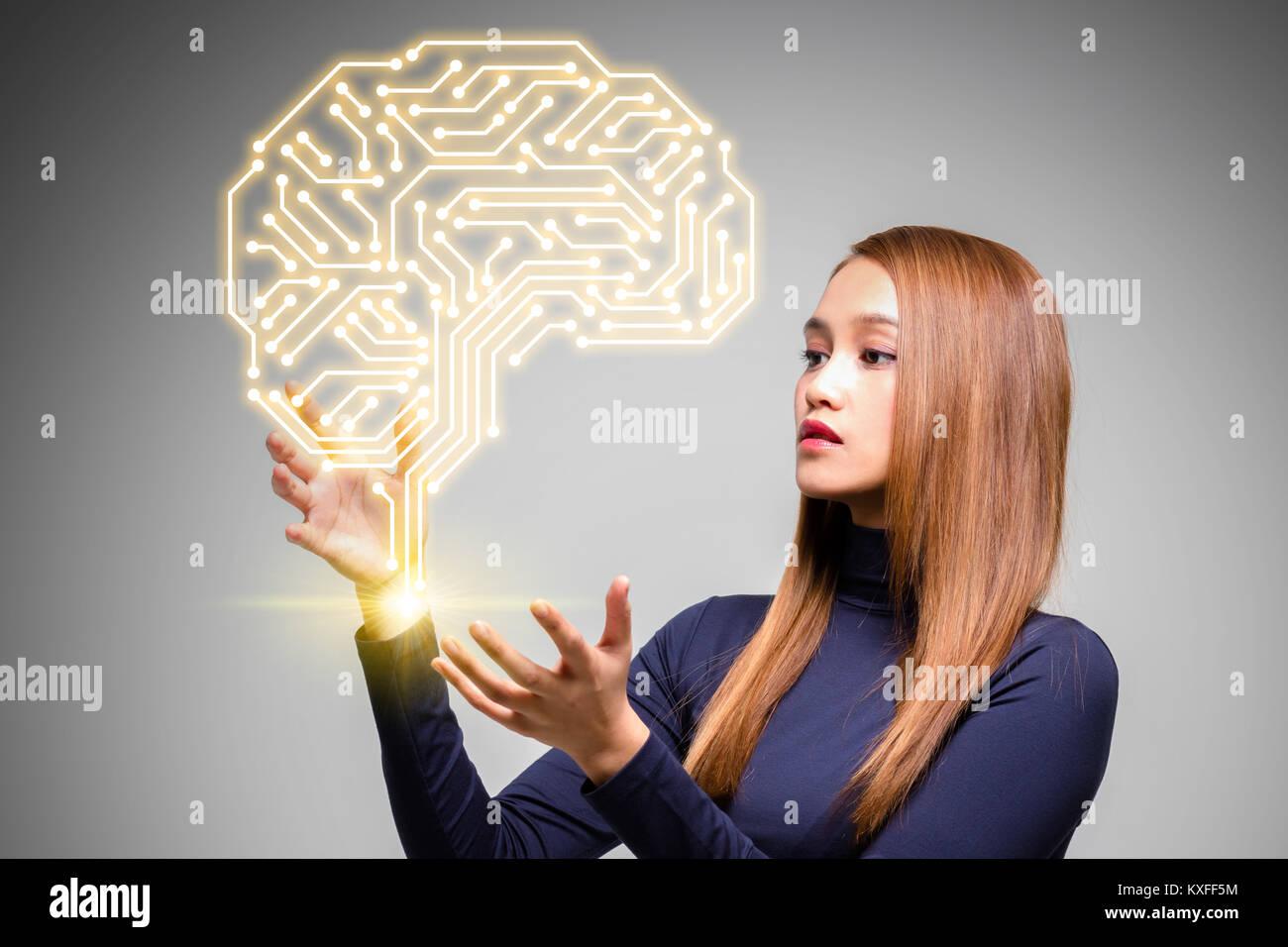 AI (Inteligencia Artificial) Concepto, 3D rendering Imagen De Stock