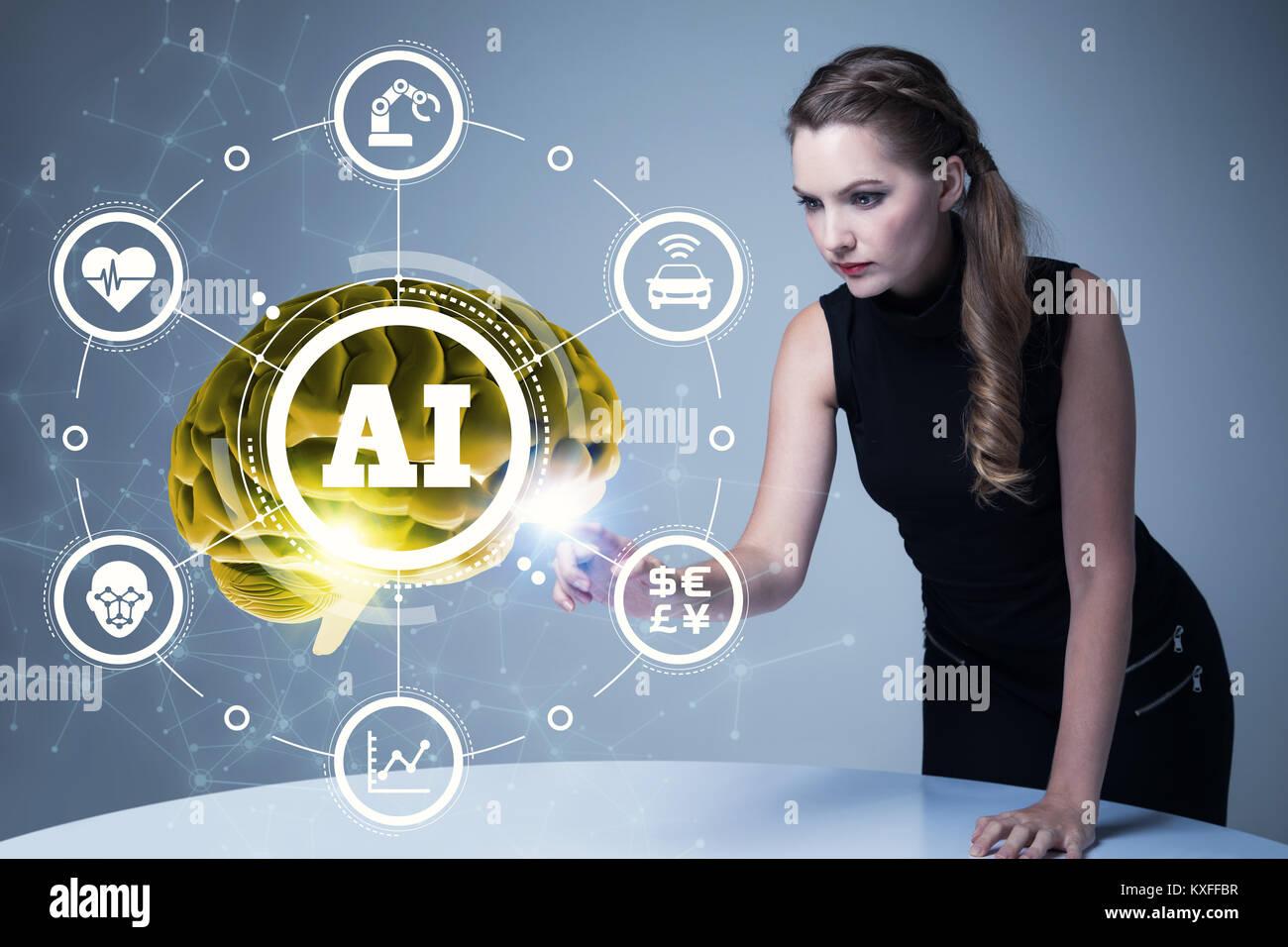 AI (Inteligencia Artificial) concepto. 3D rendering. Imagen De Stock