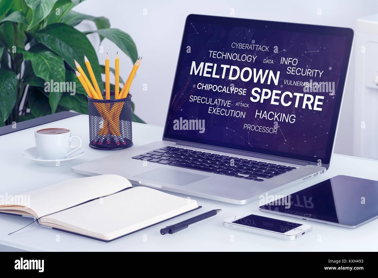 Deshielos y espectro amenaza concepto sobre la pantalla de un ordenador portátil. Imagen De Stock