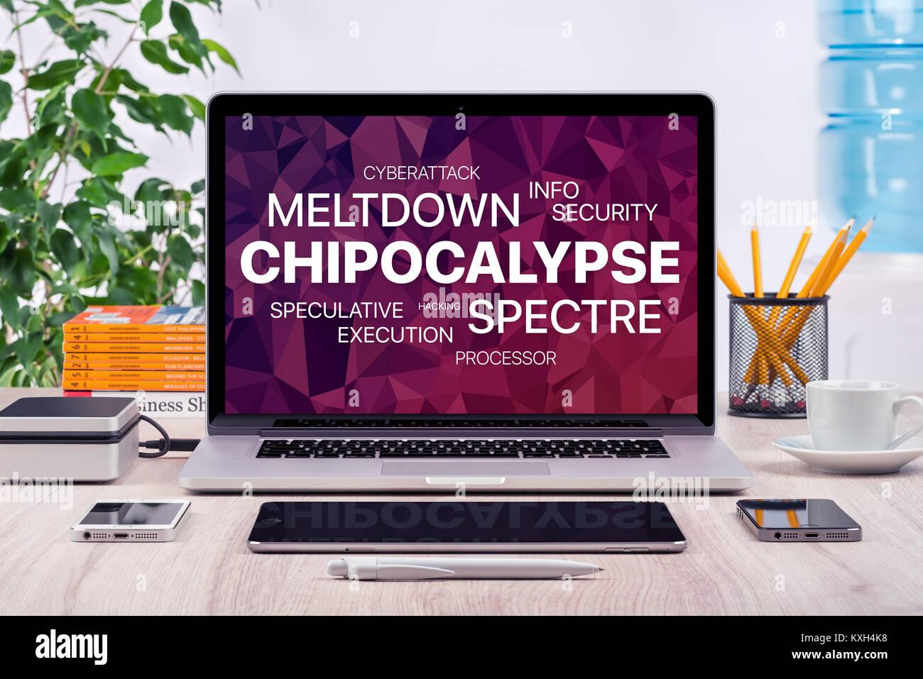 Concepto Chipocalypse con deshielos y espectro amenaza sobre la pantalla de un ordenador portátil en la oficina. Imagen De Stock