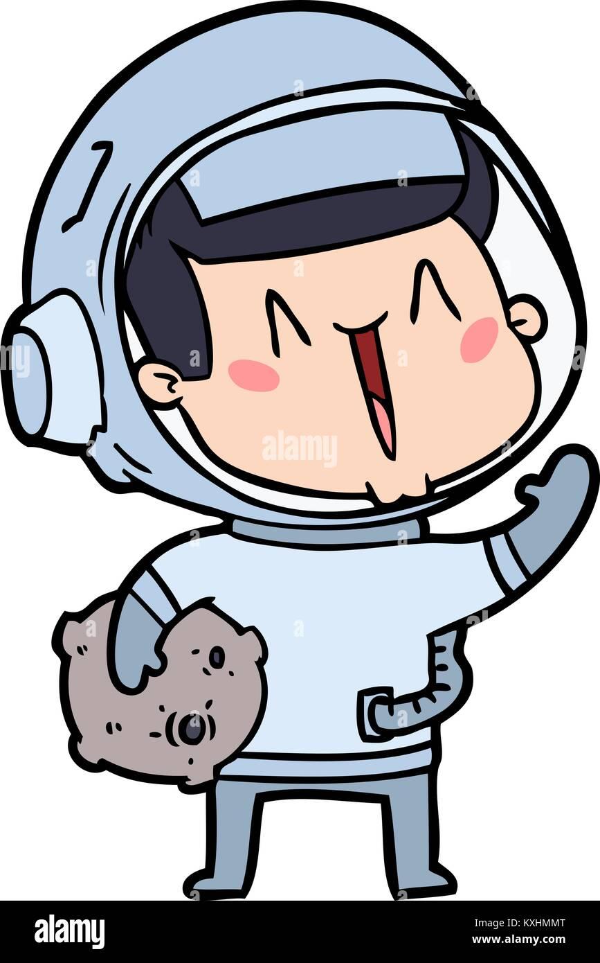 Feliz Astronauta De Dibujos Animados Con Roca Lunar Ilustración Del