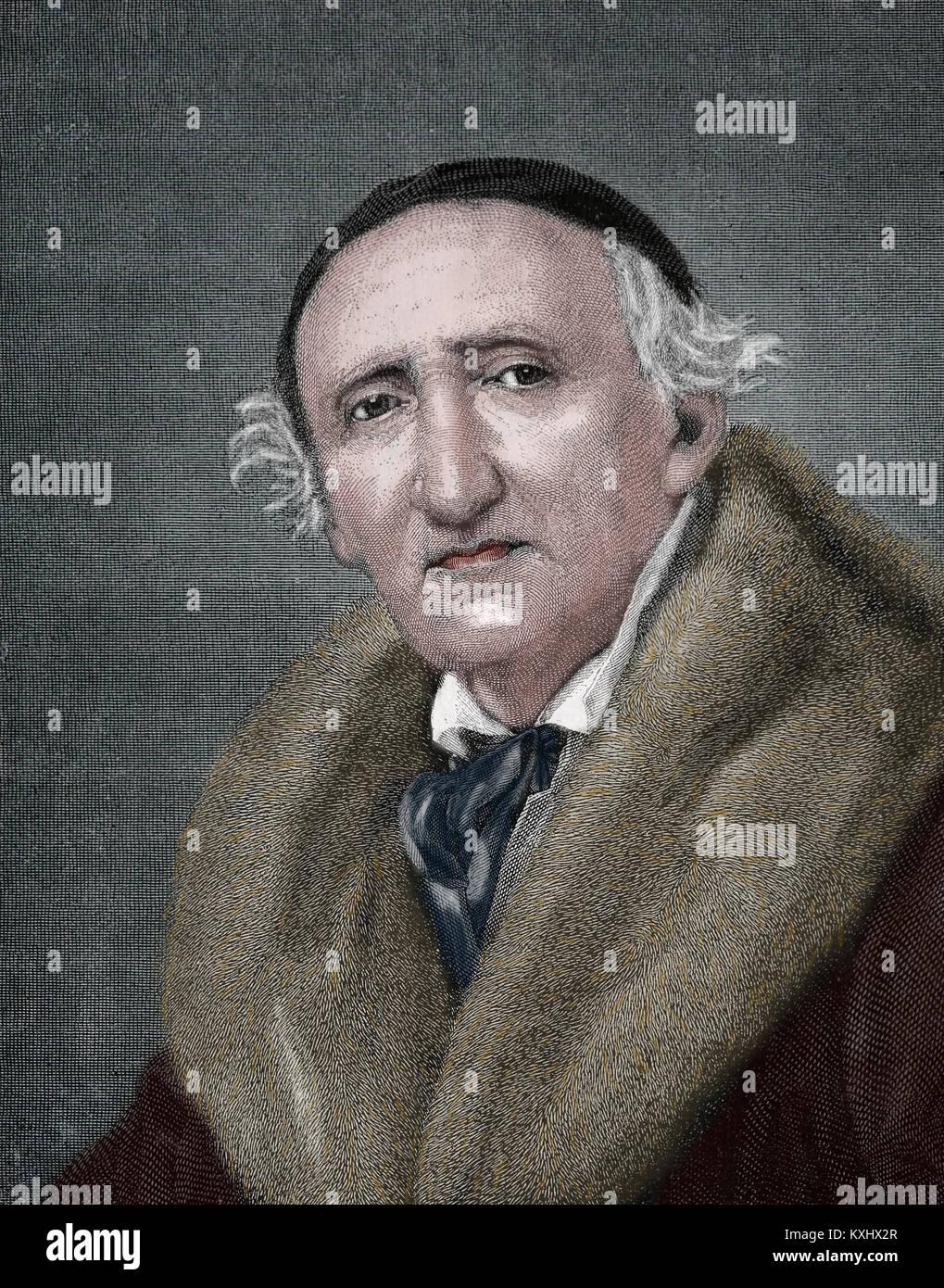 Johann Gottfried Schadow (1764-1850). Escultor de Prusia alemana. Grabado, 1883. Foto de stock