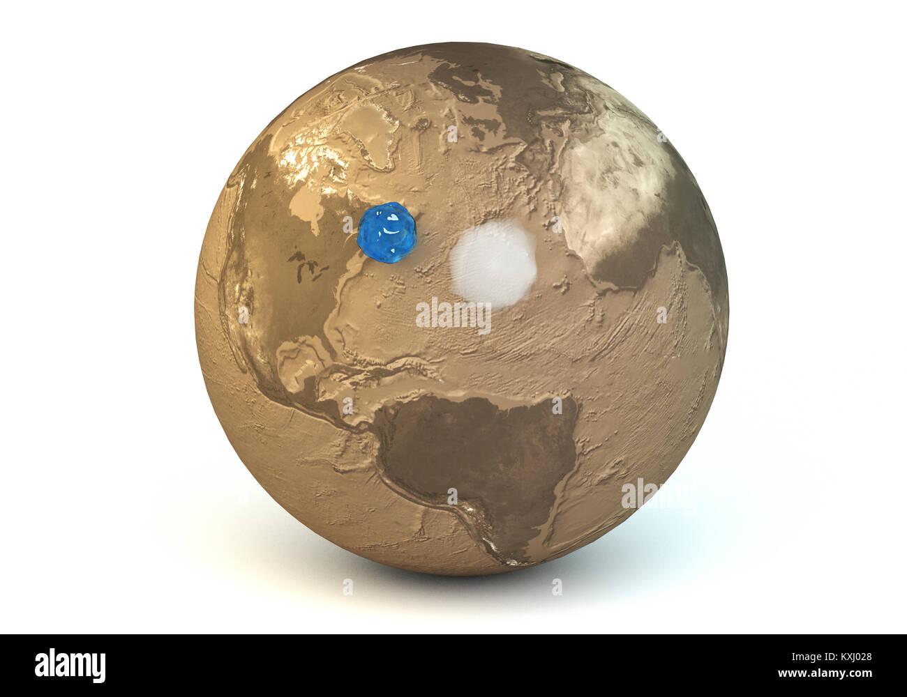 Esta es la representación en 3D de la comparación de las masas de agua y aire del planeta Tierra. Foto de stock