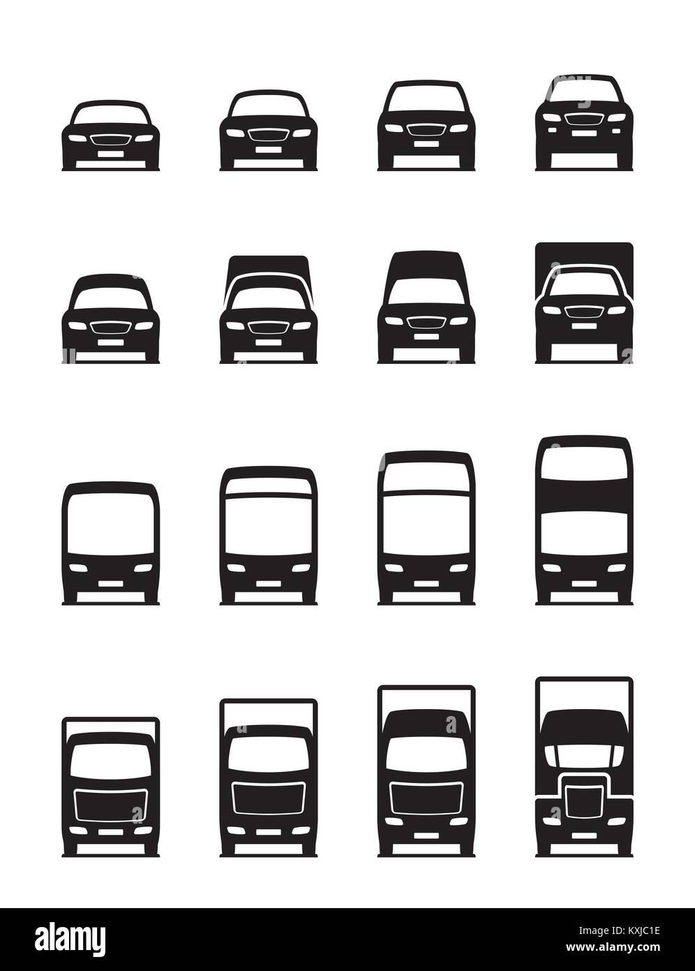 Los vehículos de transporte por carretera en la parte delantera - ilustración vectorial Imagen De Stock