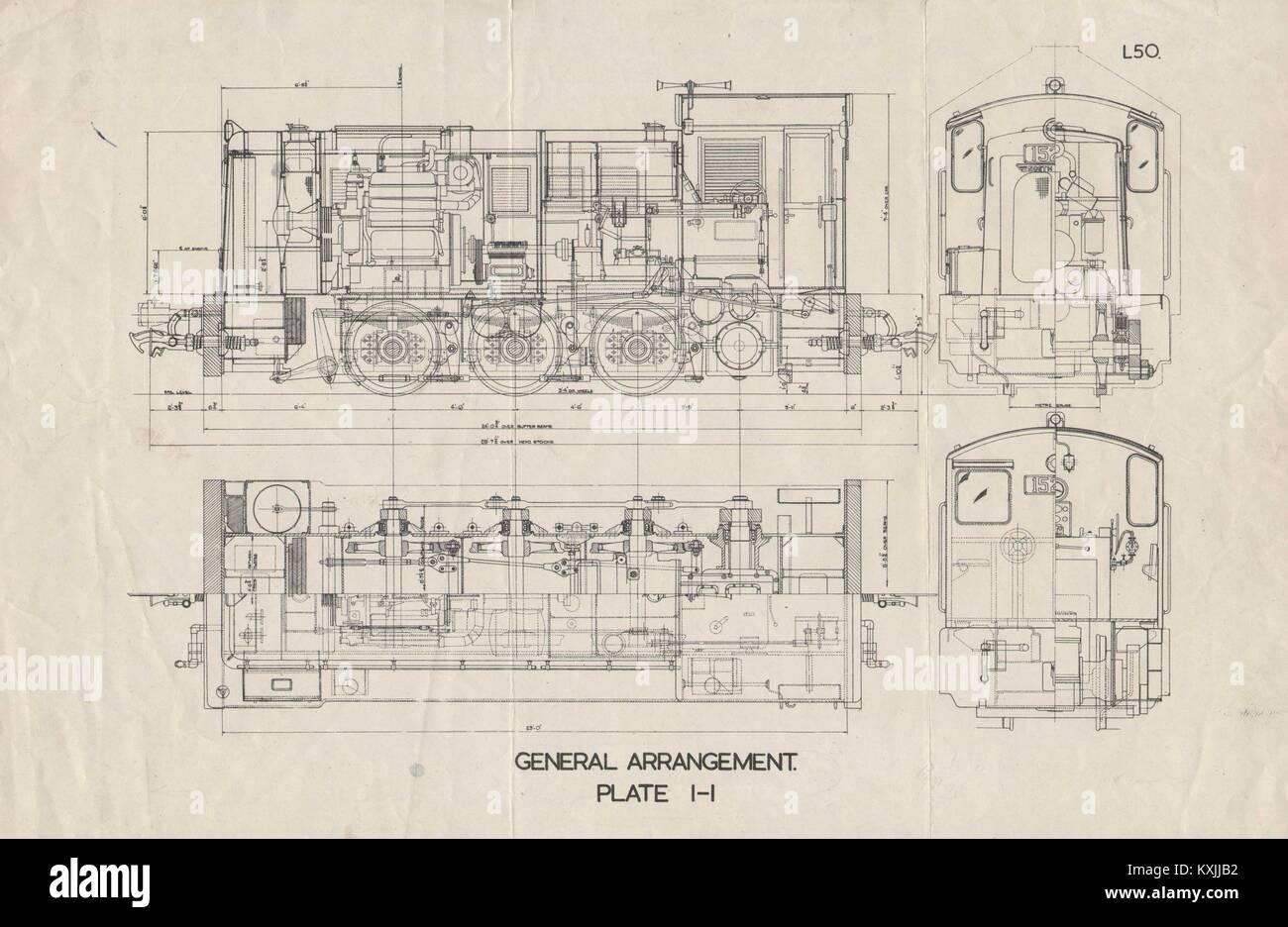 Sección plan locomotora de dibujo. Placa I-I. L50. Manómetro Medidor. Ferrocarril 1930 Foto de stock