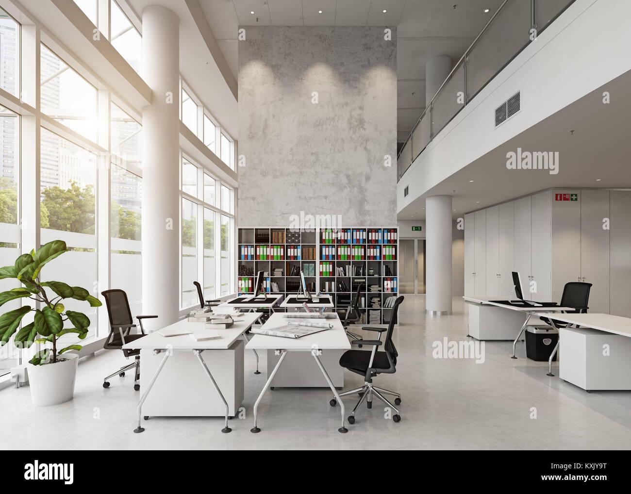 Moderno edificio de oficinas interiores. Concepto de representación 3D Imagen De Stock