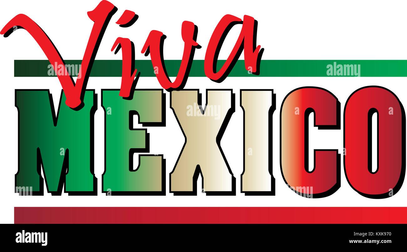 Viva México Bandera Con Bandera Mexicana Texto Coloreado