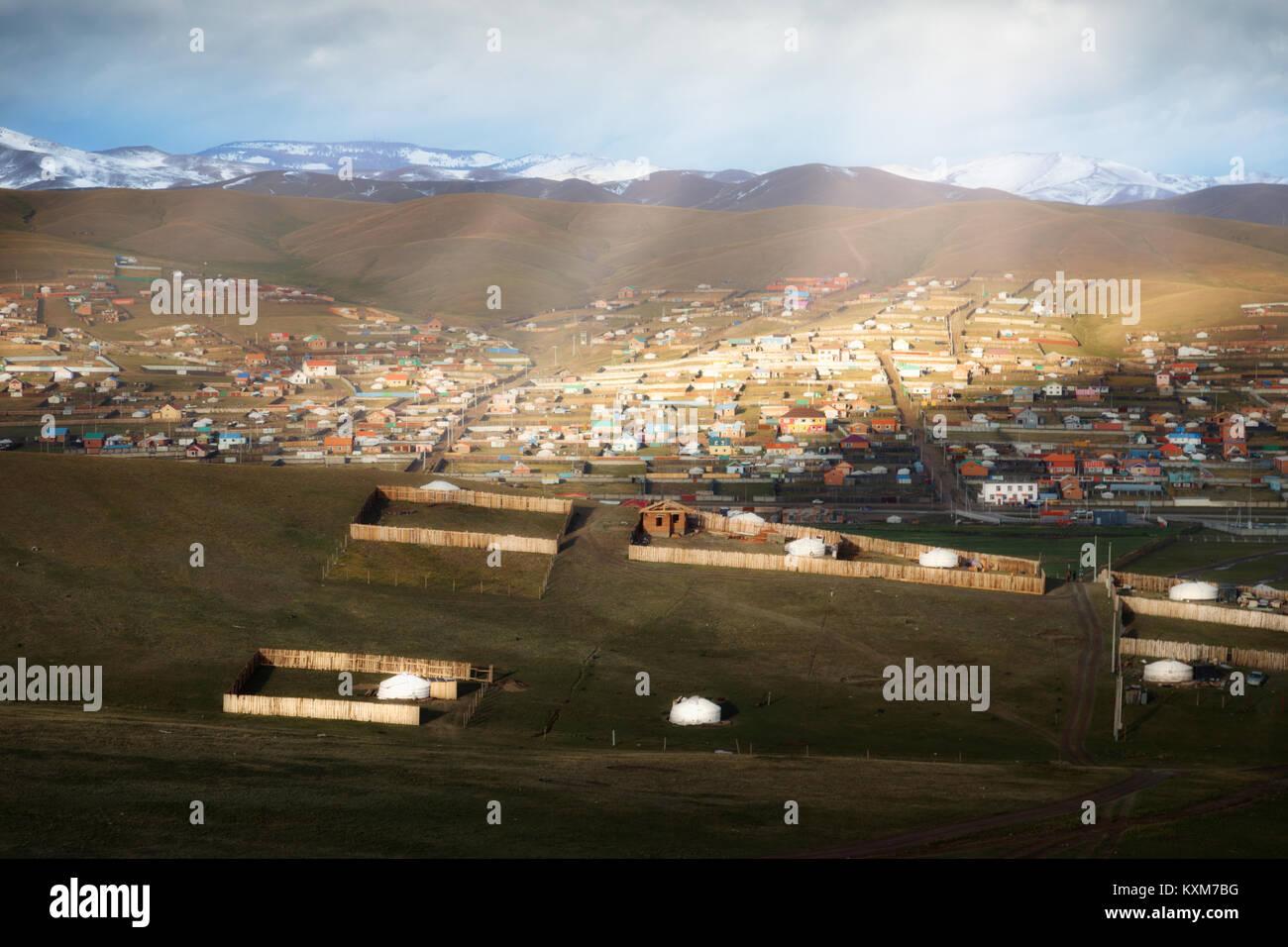 Mongolia ger camp Ulan Bator mañana rayos de sol Imagen De Stock