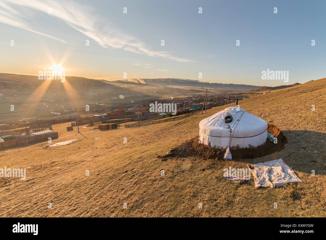 Mongolia ger camp Ulan Bator Morning Sun rising Imagen De Stock