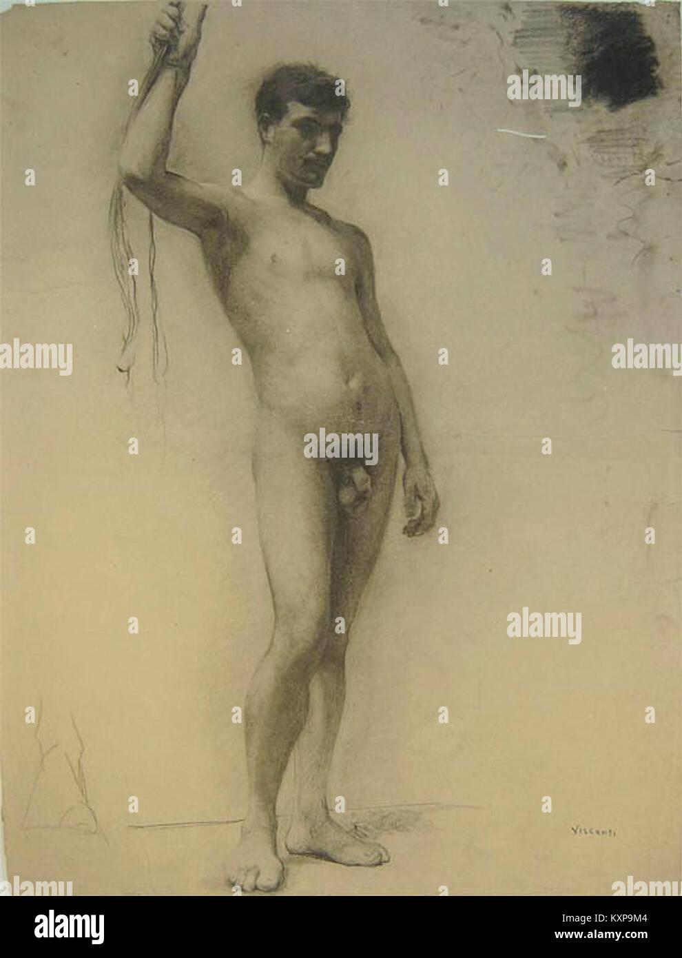 Eliseu Visconti - Nu masculino de pé c. 1889 Imagen De Stock