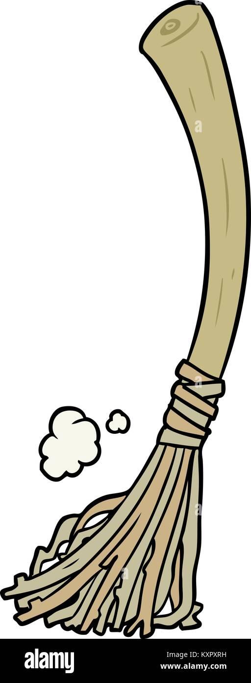 La escoba de bruja de Halloween de dibujos animados Ilustración del ...