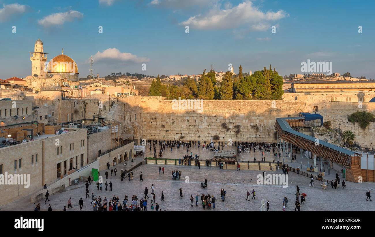 En la muralla occidental de la Ciudad Vieja de Jerusalén, Israel. Imagen De Stock
