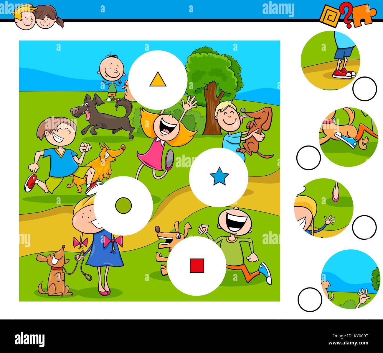 Ilustración De Dibujos Animados Educativos De Coincidir Con Las