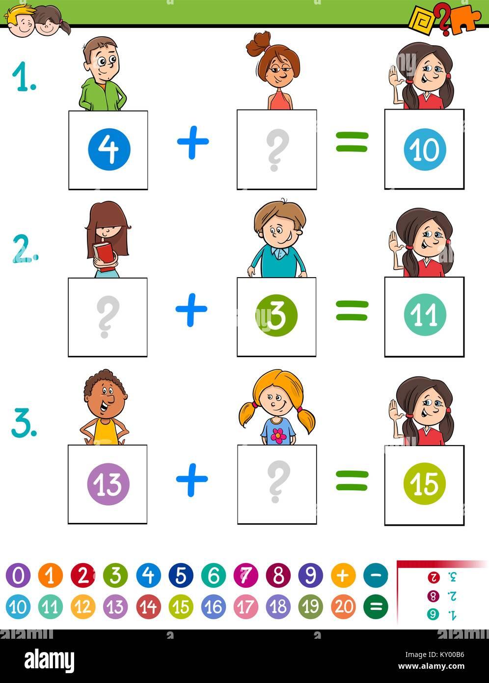 Ilustración De Dibujos Animados De Matemática Educativa Además