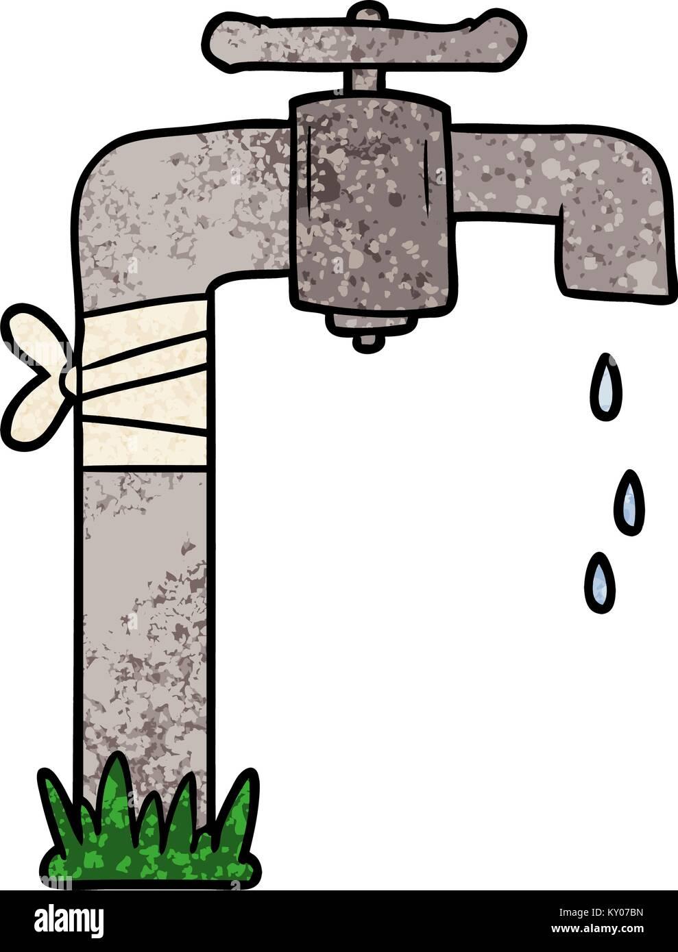 Grifo de agua antiguos dibujos animados Imagen Vector de stock - Alamy