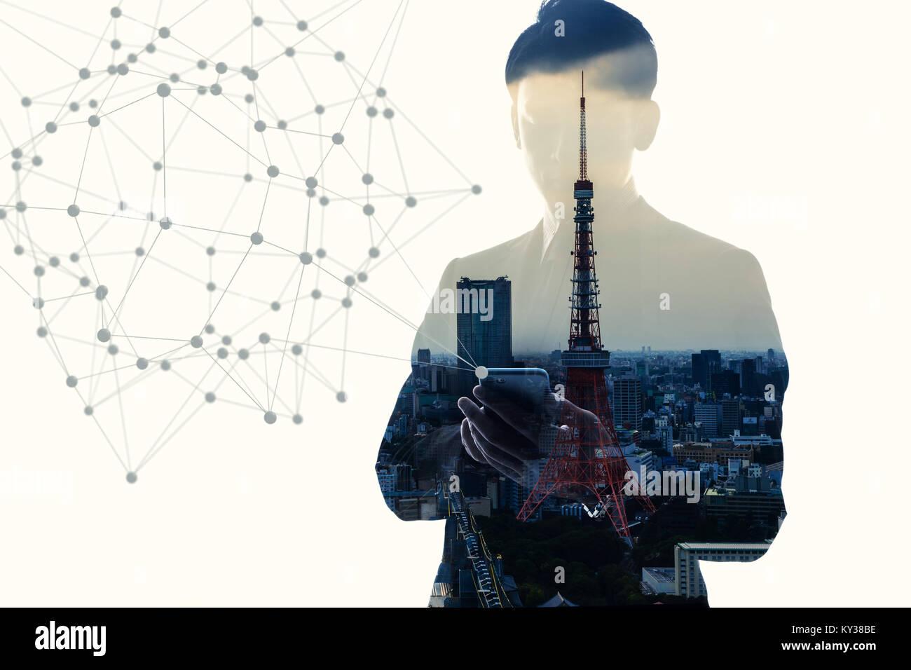 El concepto de red de comunicación móvil. Doble exposición abstracta. Imagen De Stock