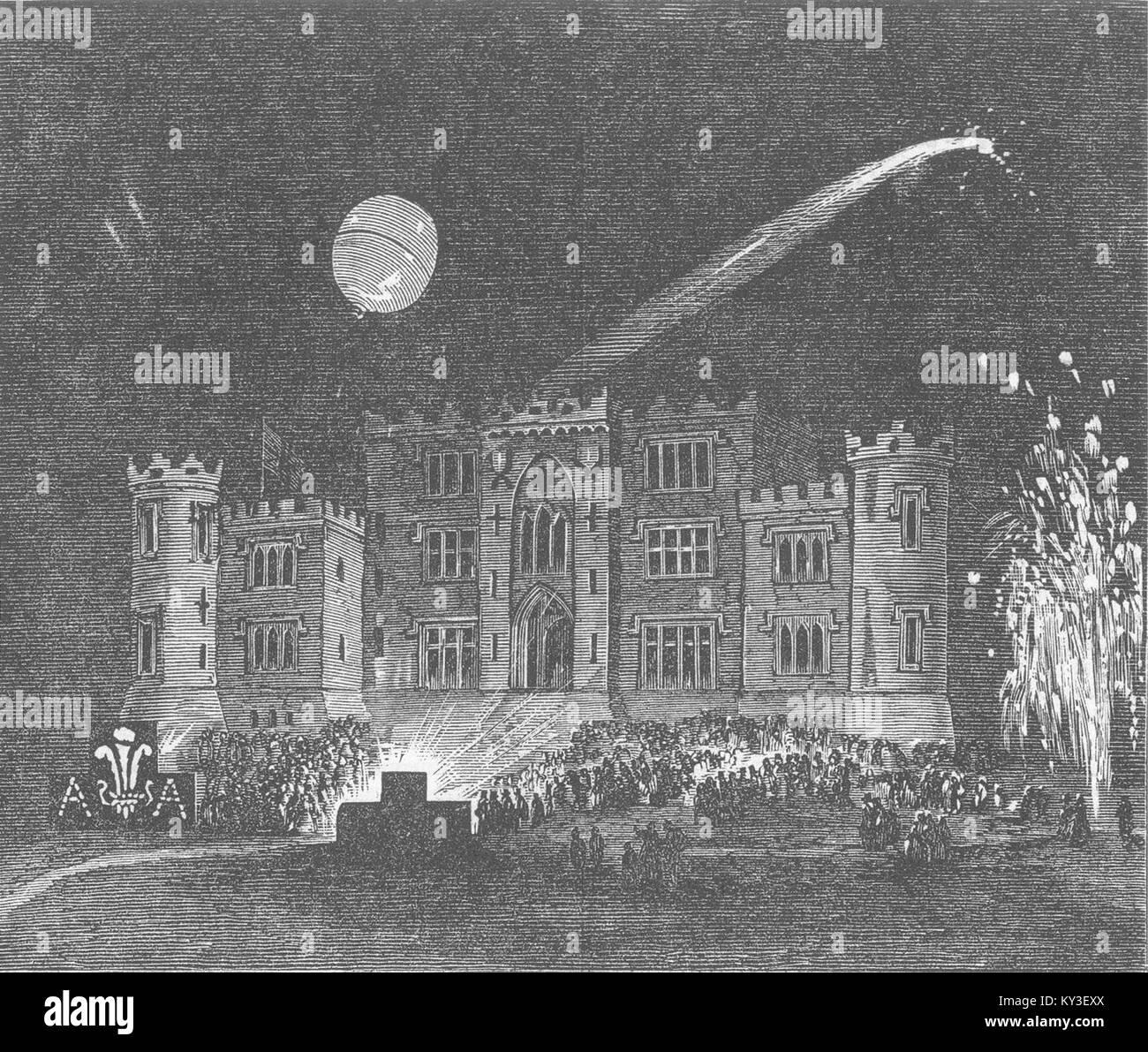 Fiesta en Irlanda, el Castillo Birr (Conde de Rosse) en 1863. Illustrated London News Foto de stock