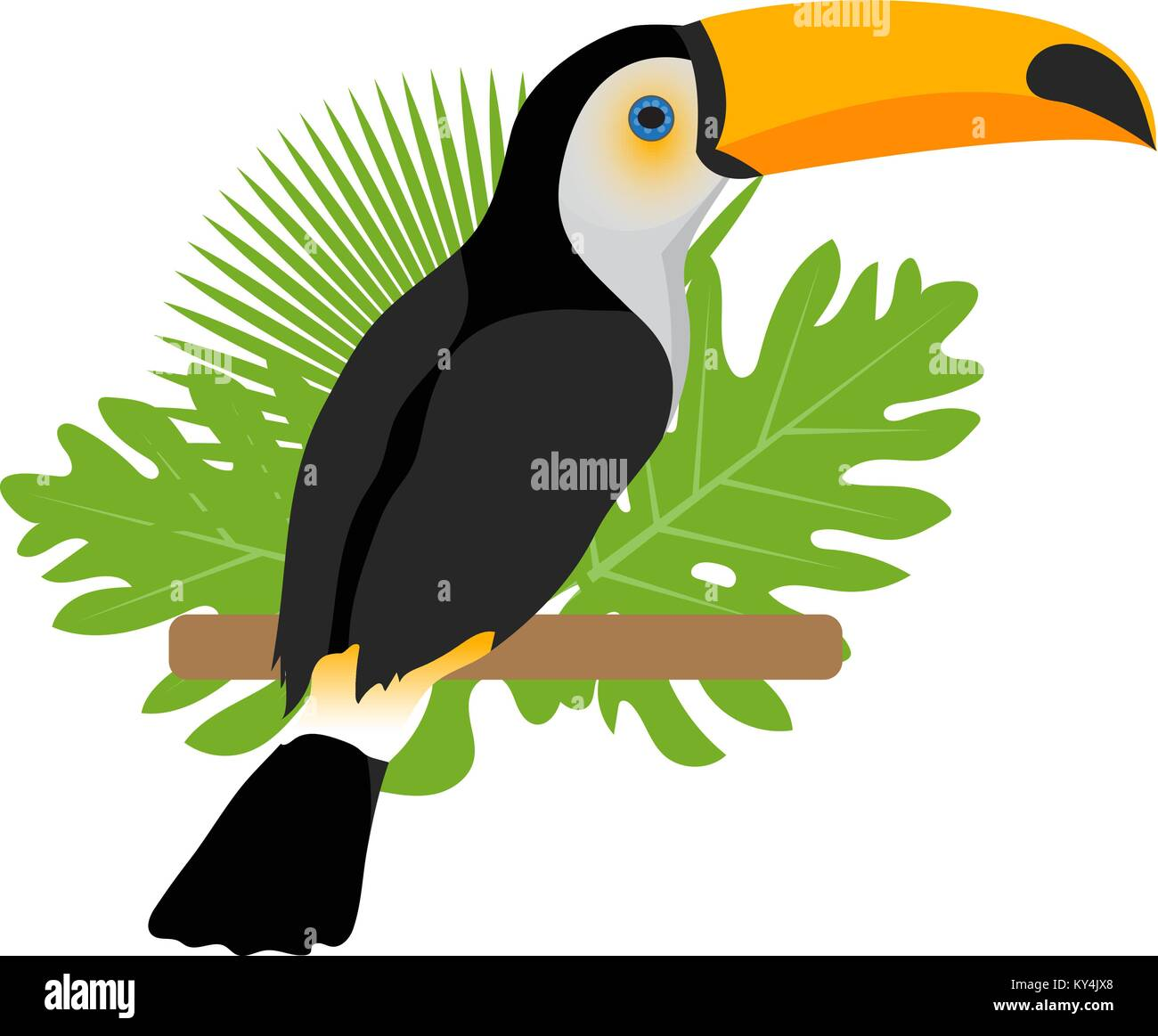 Tucán icono es una plana, estilo de dibujos animados. Aves exóticas ...
