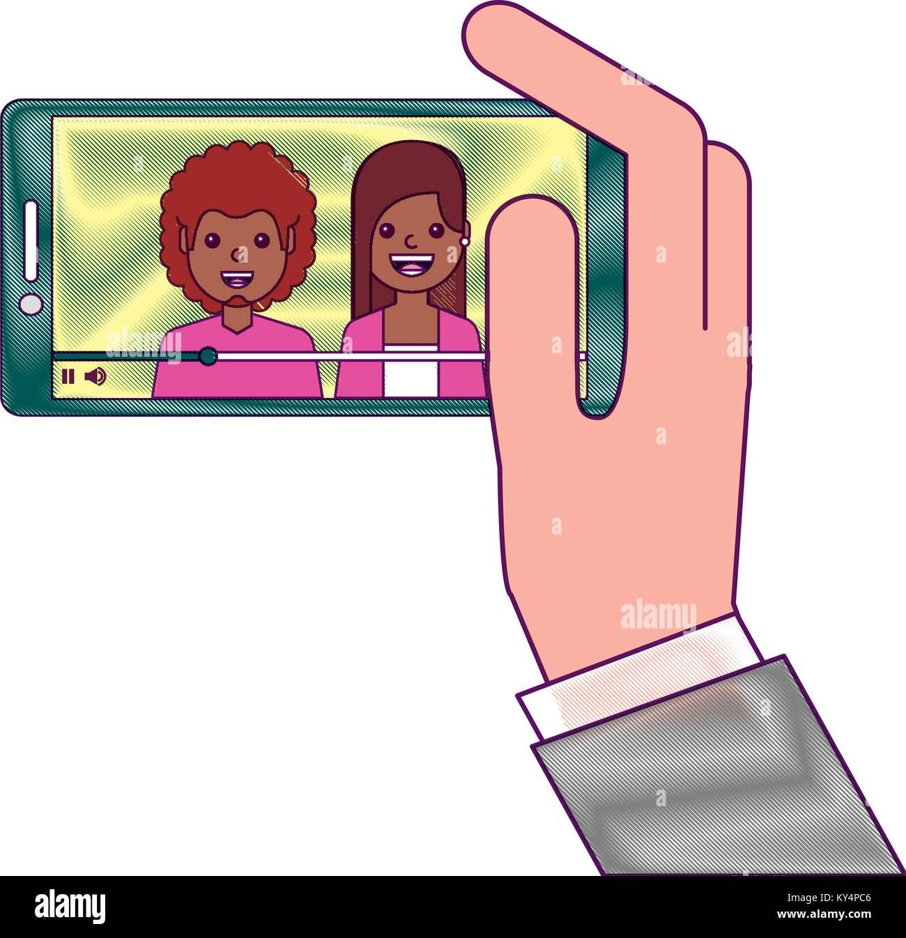 Mano Sujetando Teléfono Móvil Con Personas Video Player