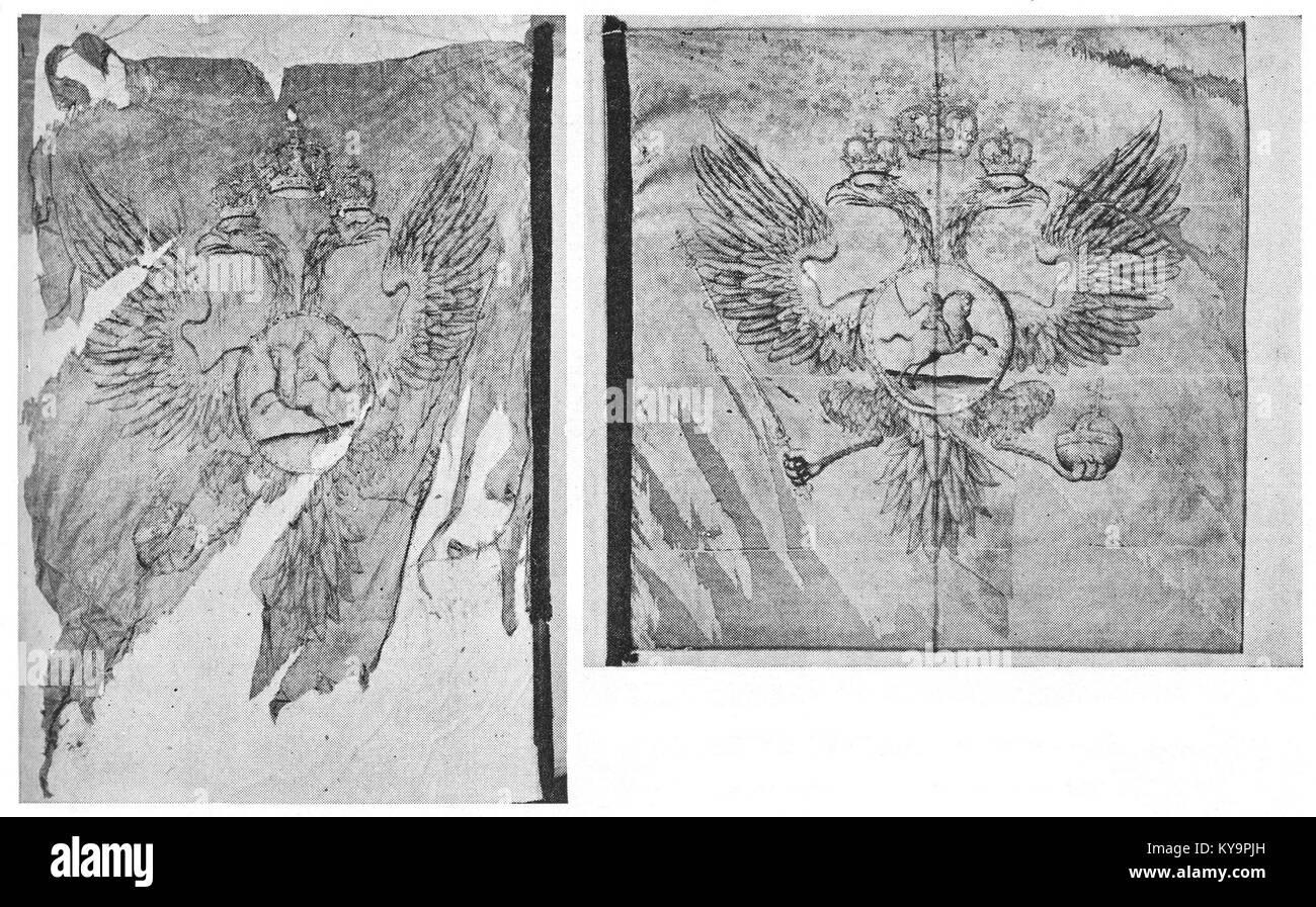 Rivna fanor, segertecken, med en dubbelörn i vecken Imagen De Stock