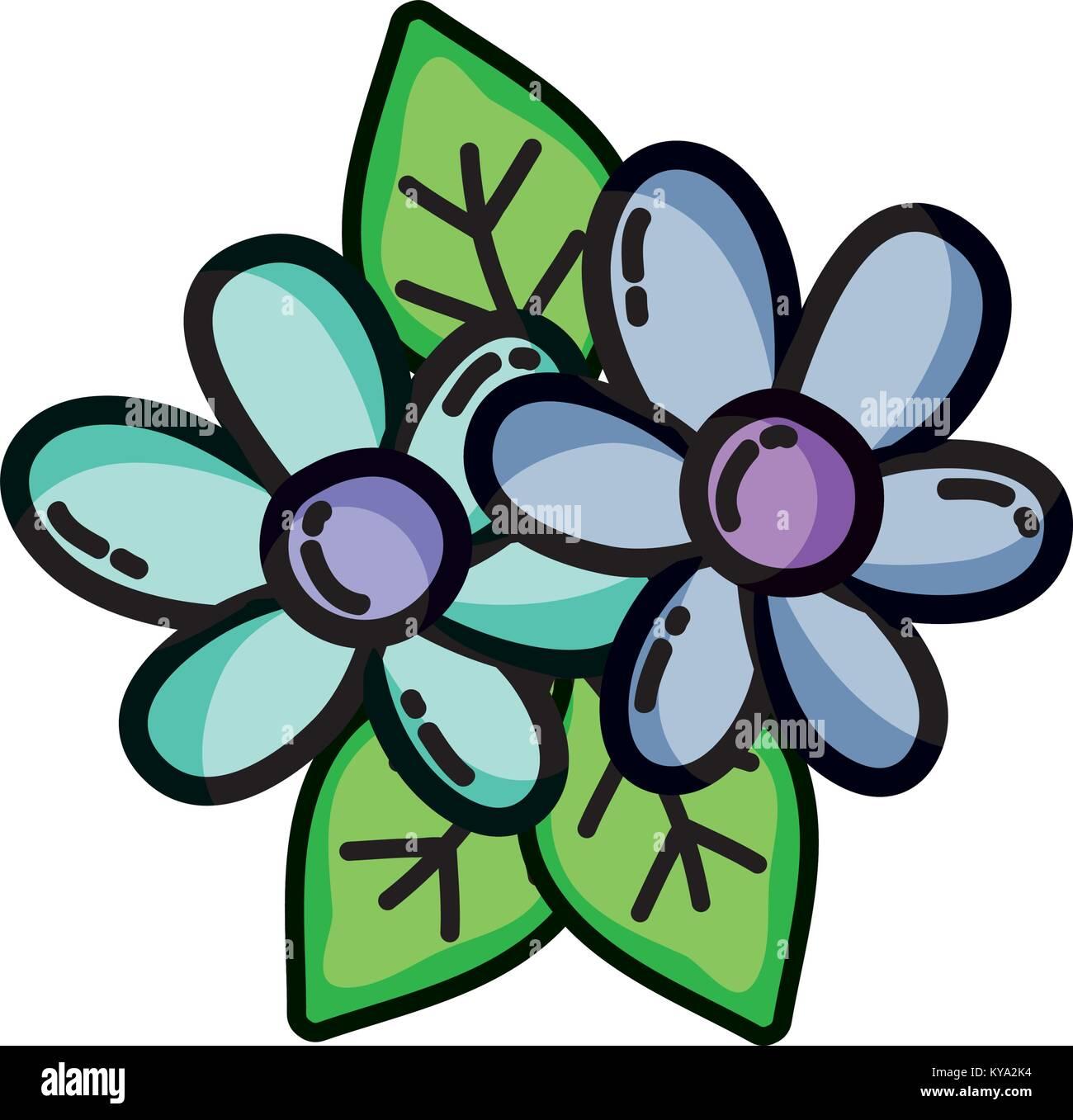 Bonitas Flores Con Pétalos Y Hojas Naturales Ilustración Del