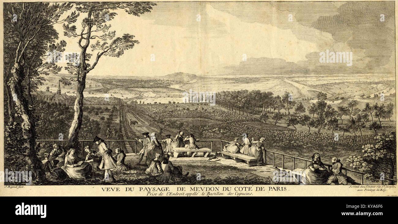 Rigaud vue depuis le bastion des Capucins Musée d'art et d'histoire de Meudon vers 1730 Foto de stock