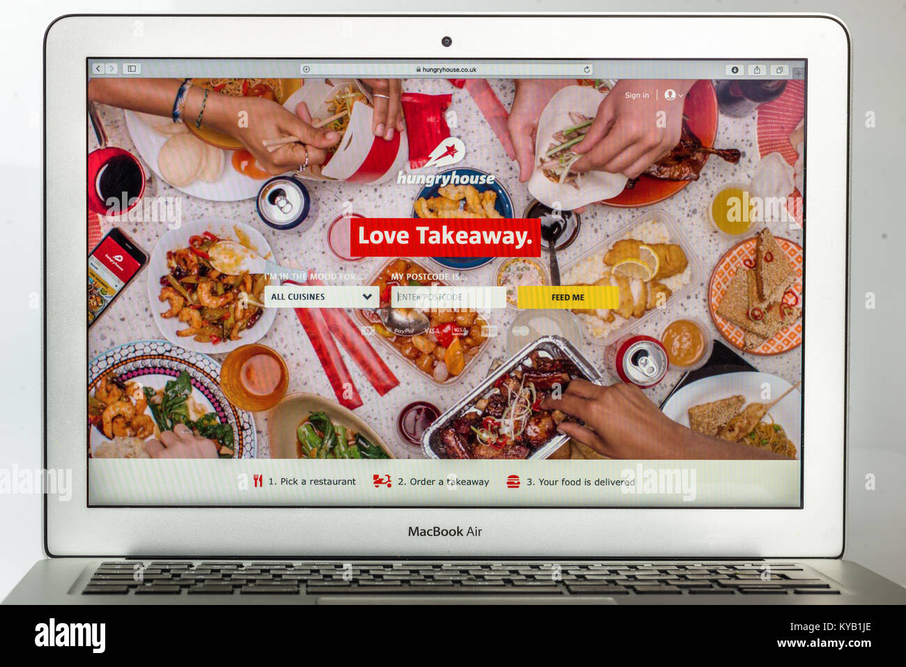 Casa hambriento, la empresa de distribución de alimentos en línea británica Imagen De Stock