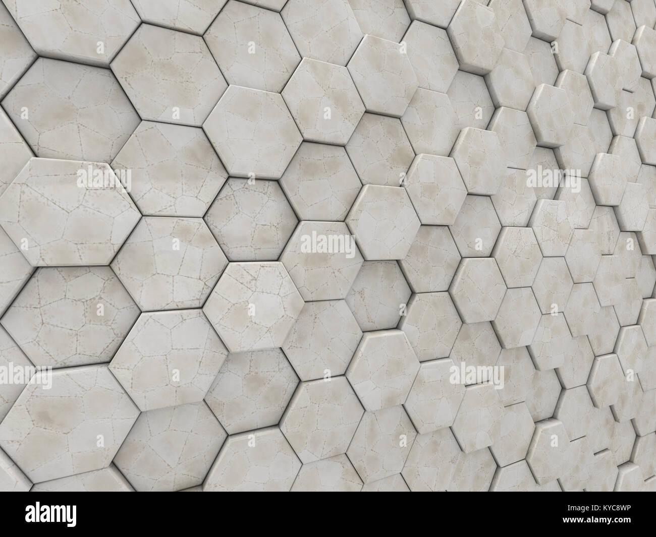 Fondo abstracto geométrico de mármol de hexaedros. 3D rendering Imagen De Stock