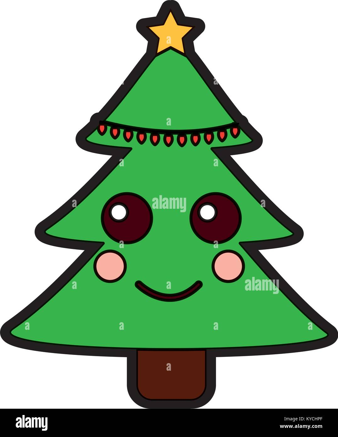 Arbol De Navidad Kawaii Cartoon Sonriendo Ilustracion Del Vector