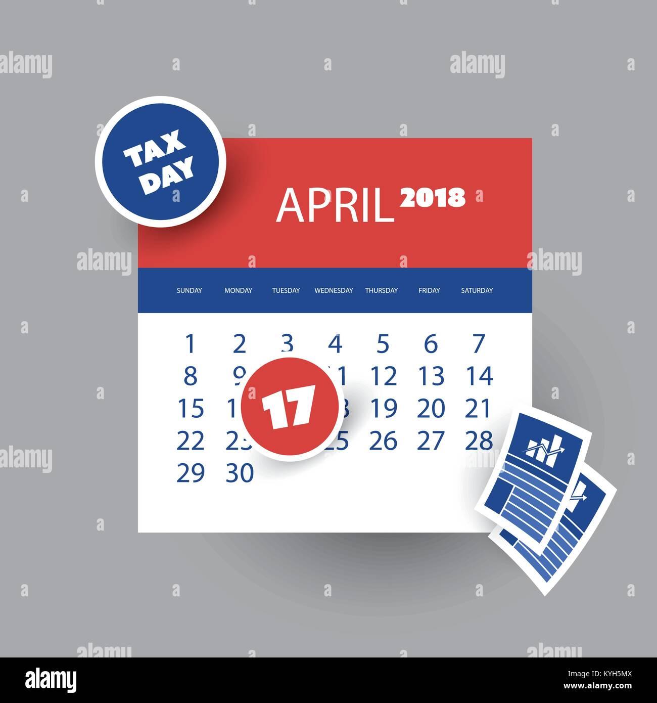 Día del Impuesto Concepto Recordatorio - Calendario - usa la ...