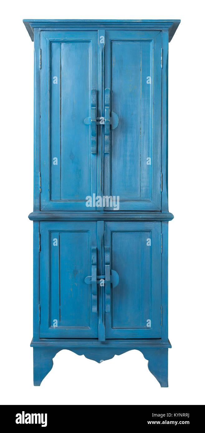 Vintage muebles antiguos de madera - Retro Vitrina turquesa aislado sobre  fondo blanco ec6671f3315d