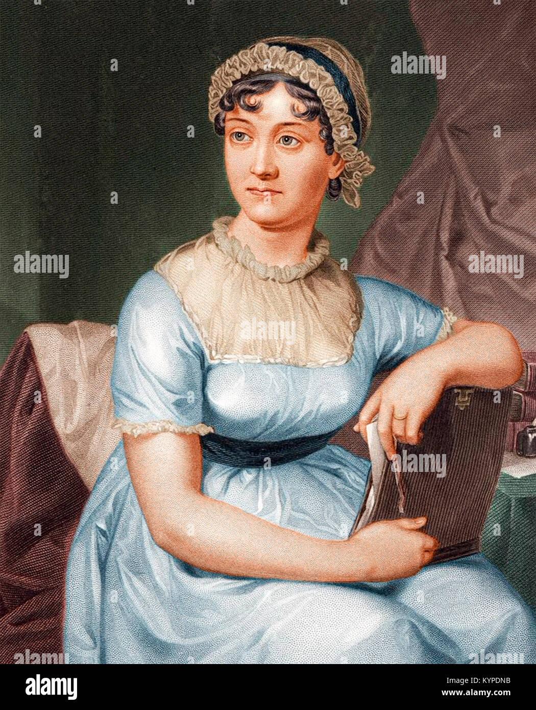 Jane Austen (1775-1817). Un grabado de color después de un retrato de familia, publicado en 1873. Imagen De Stock