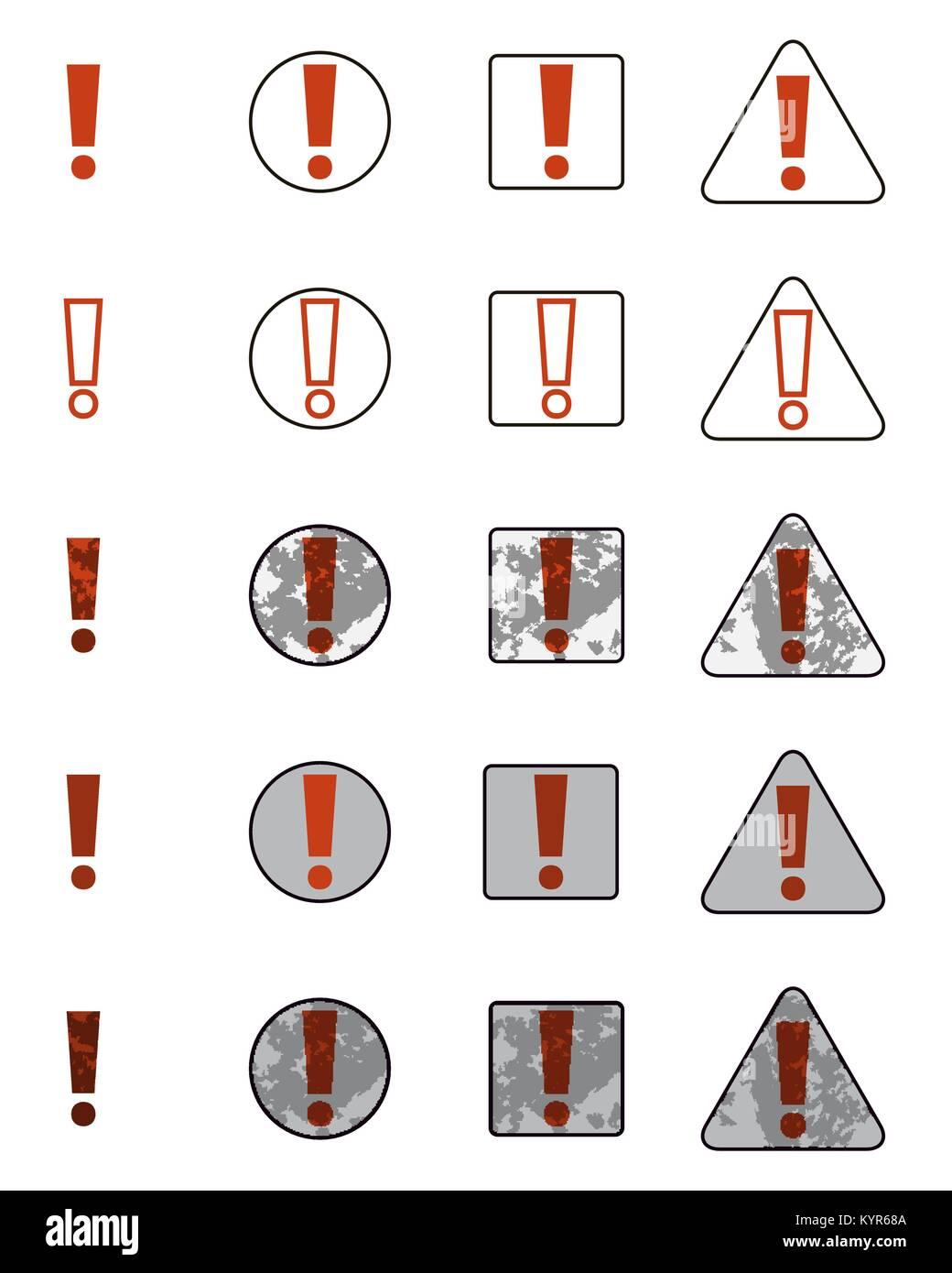 Conjunto de iconos con la conocida exclamación. Imagen De Stock