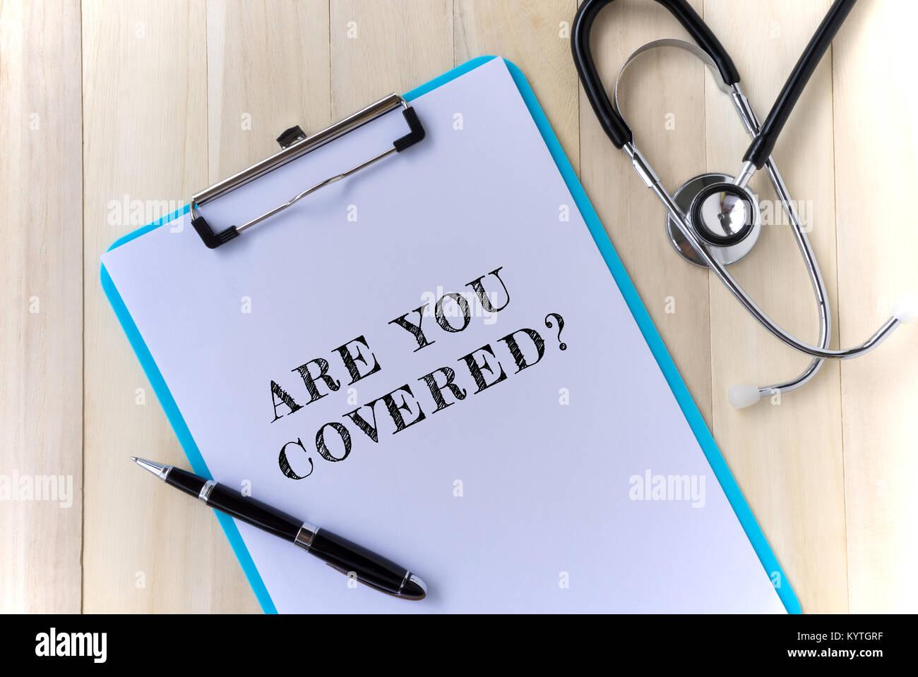 Concepto de cuidados médicos y de salud - estás cubierto? Imagen De Stock