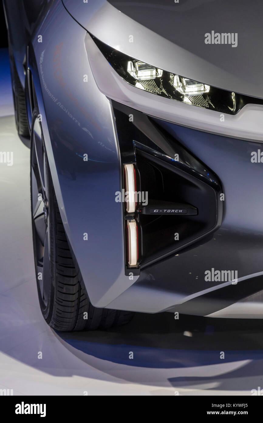 Detroit, Michigan, Estados Unidos. 15 Enero, 2015. El fabricante de automóviles de China GAC Motor presentó Imagen De Stock