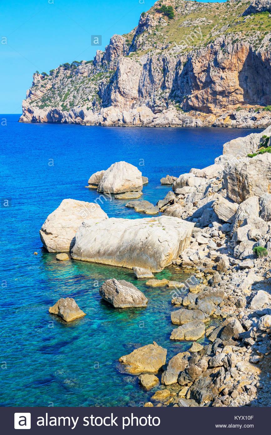 Vista de Cala Figuera, Mallorca, Islas Baleares, España, Europa Imagen De Stock