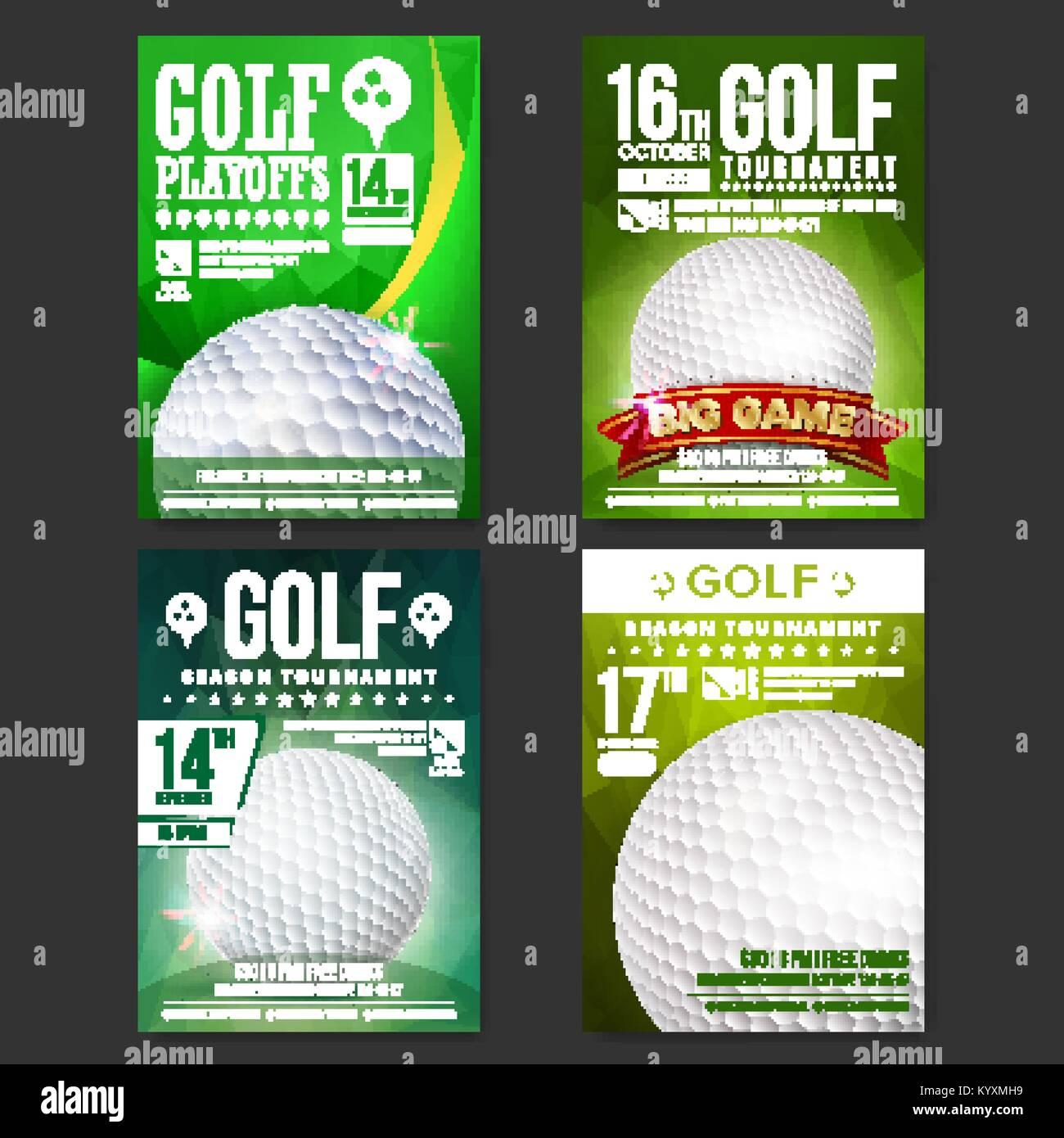 b08581edd Póster de Golf conjunto Vector. Diseño para la promoción de la barra  deportiva. Pelota de golf. Torneo moderno. Anuncio de eventos deportivos.  Banner de ...