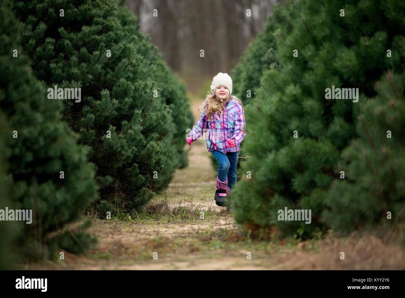 La longitud completa de la niña corriendo en el campo rodeado de pinos. Imagen De Stock