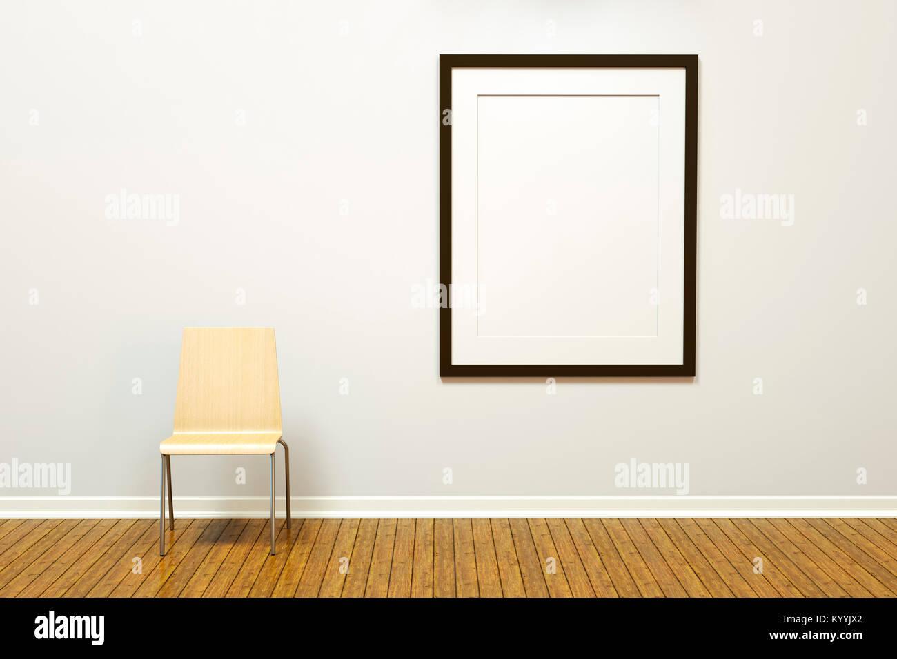 Marco de imagen vertical en blanco grande con mat en una pared en una habitación vacía o una galería Imagen De Stock