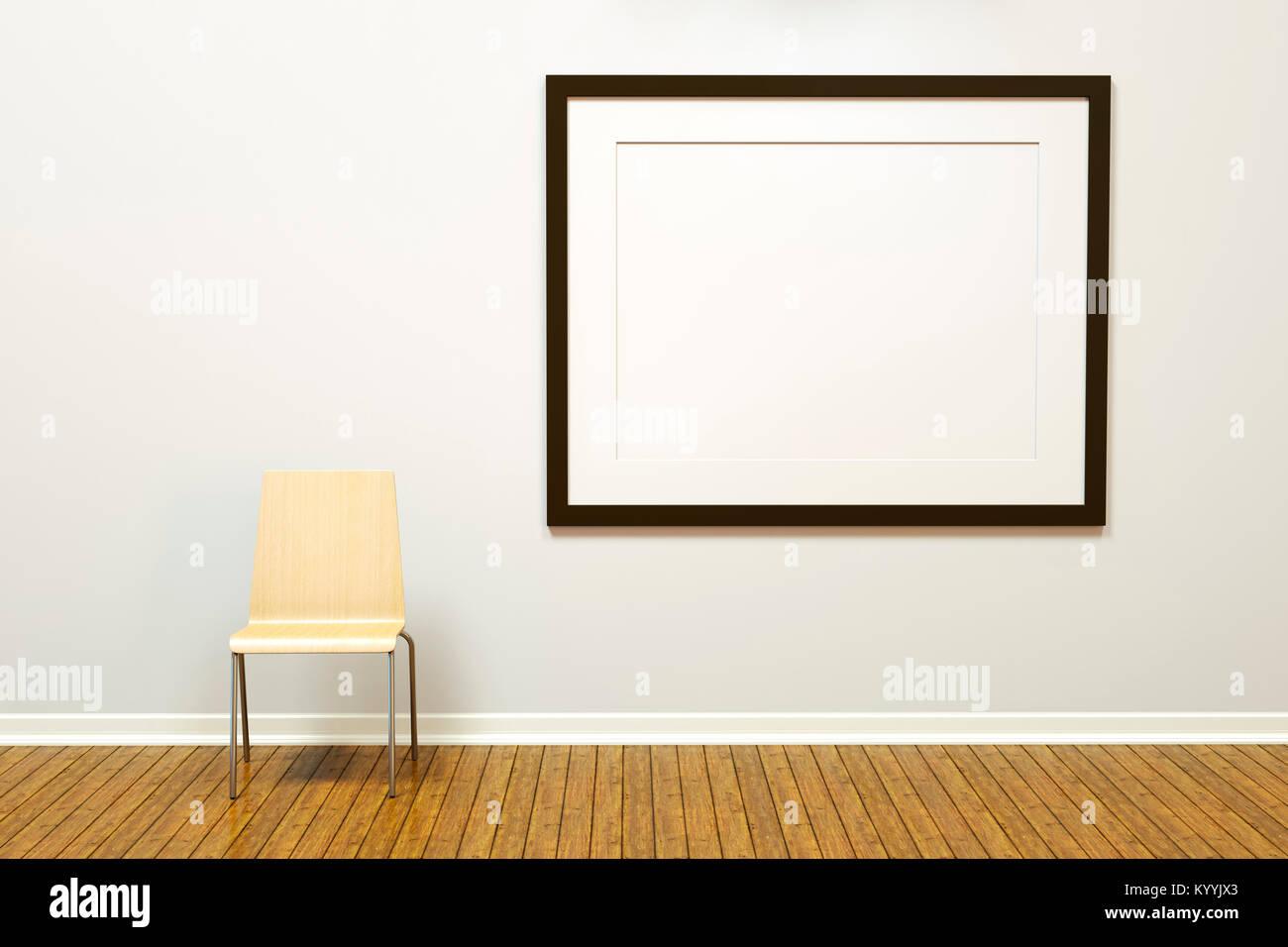 Marco de imagen horizontal en blanco grande y galería de arte en una ...