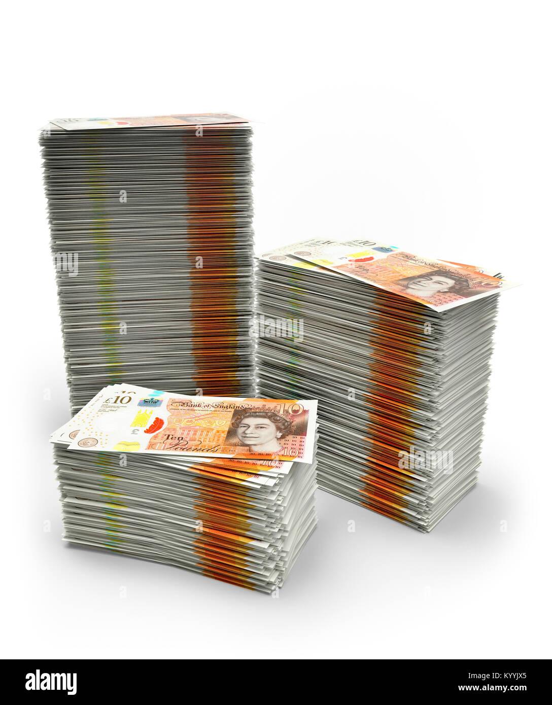 Pilas de diez libras esterlinas notas sobre un fondo blanco, ilustrando el ahorro o la deuda - Nuevo diseño 2017 Foto de stock