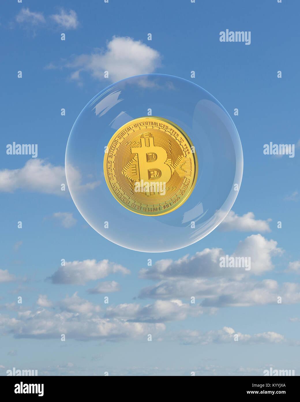 Bitcoin flotando en una burbuja - cryptocurrency blockchain, concepto Imagen De Stock