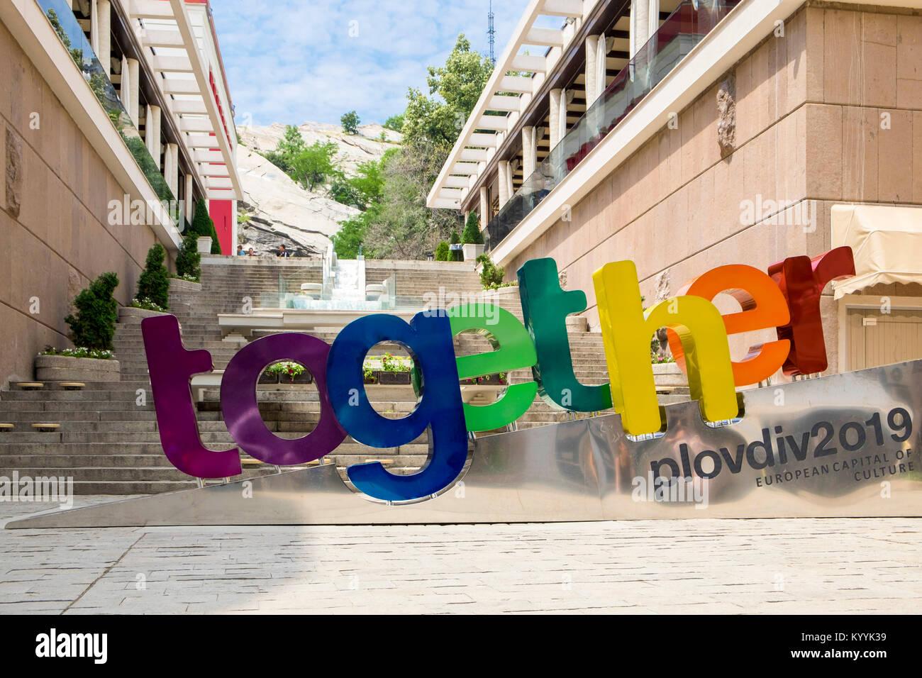 Capital europea de la cultura signo, 2019 en la ciudad de Plovdiv, Plovdiv, Bulgaria, Europa Imagen De Stock