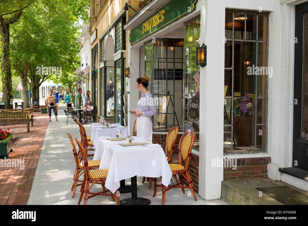Silvers restaurante en Southampton village, los Hamptons, en Long Island, Nueva York, EE.UU. Imagen De Stock