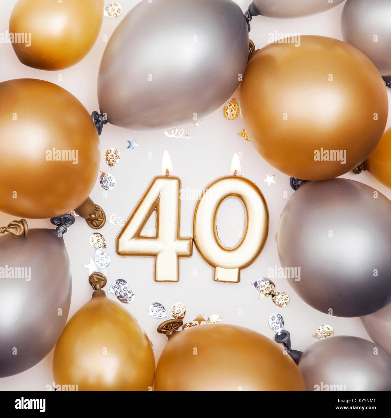 Imagenes De Cumpleanos Numero 40.Fiesta De Cumpleanos Numero 40 Vela Con Globos De Oro Y